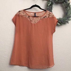 Boho Peach sheer top short sleeves blouse